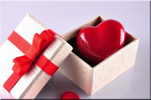 Heart in gift box