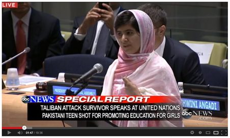 Malala Yousafzai pakistani shot United Nations 2013