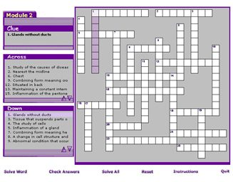 Medical Terminology, medical terms, games crossword puzzle
